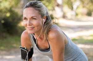 Mature woman jogging